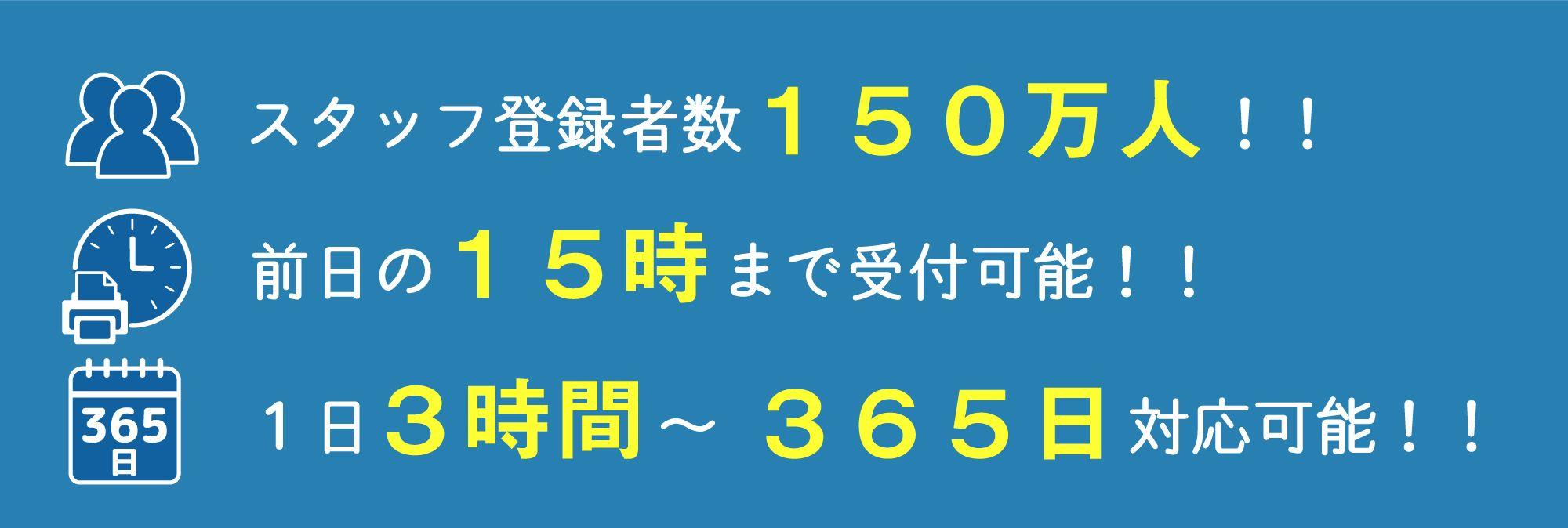 スタッフ登録者数150万人!! 前日の15時まで受付可能!! 1日3時間~365日対応可能!!